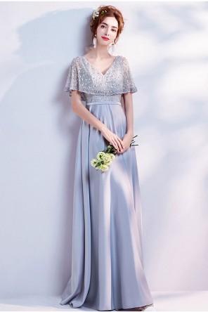 Robe argentée pour cortège mariage décolleté v manche cape en dentelle pailletée