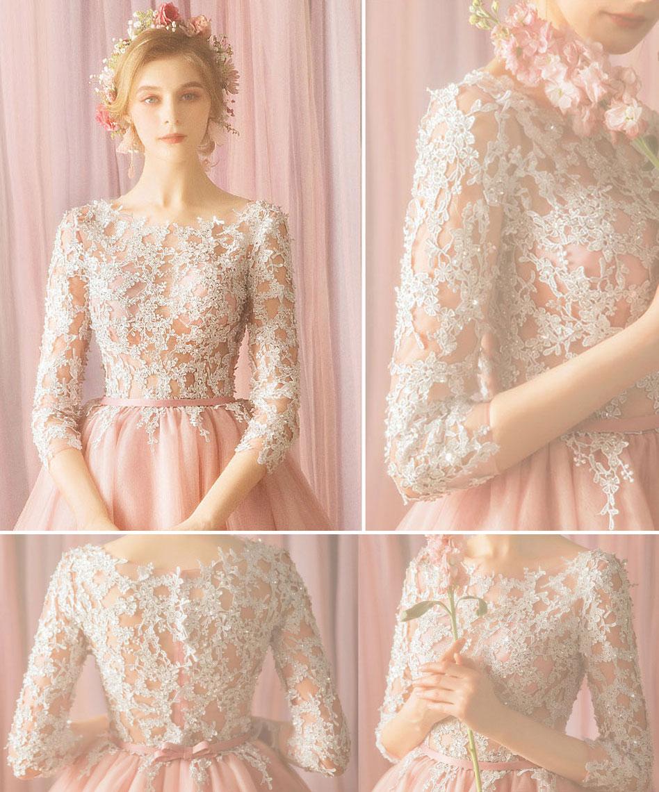 robe soirée courte rose perle guipure ivoire avec manches
