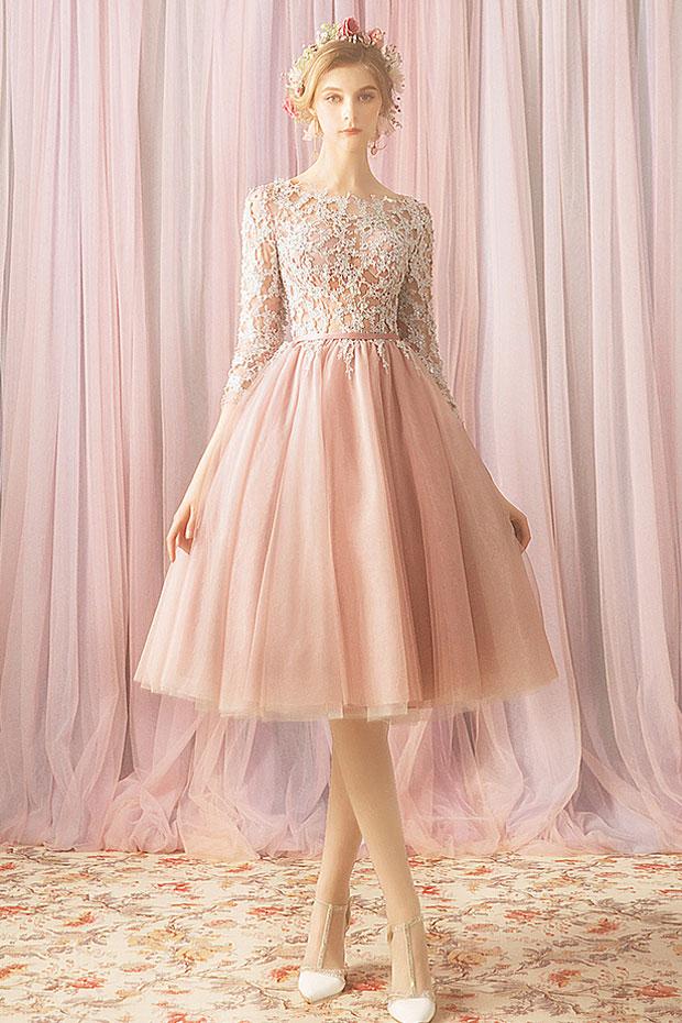 robe cortège mariage rose perle haut en dentelle guipure avec manches mi-longue