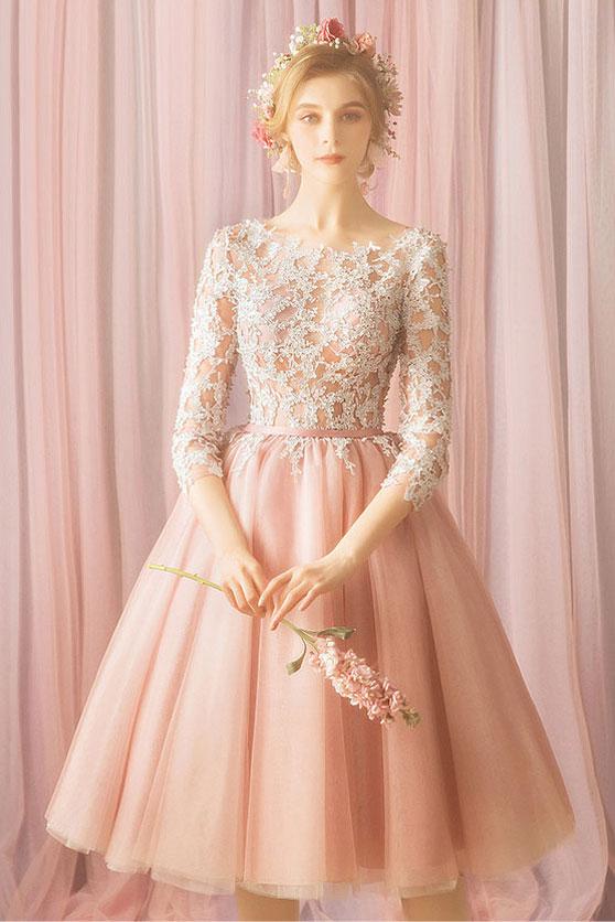 robe de cocktail courte rose perle haut en dentelle guipure avec manches mi-longue