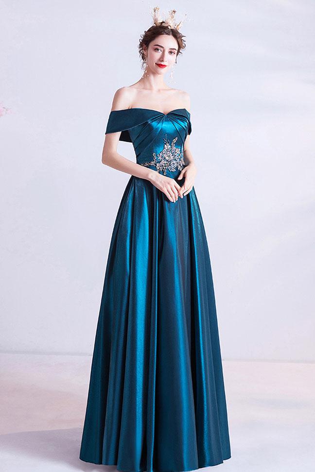 robe de soirée bleu canard brodée épaules dénudées avec poches