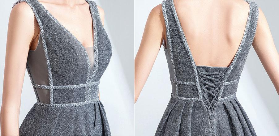 robe grise décolleté v dos laçage