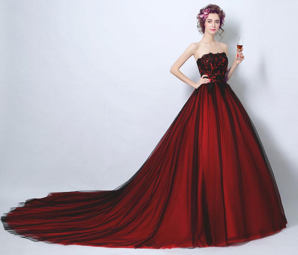 robe de mariée rouge noire grande traîne pas cher