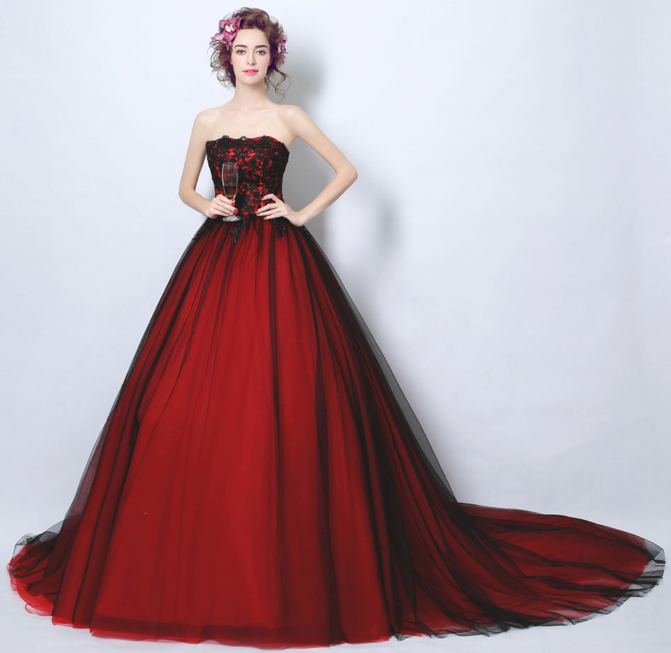 robe de soirée longue rouge noire bustier dentelle pas cher