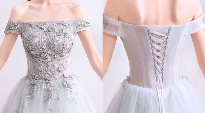 robe gris  argenté broderie florale dos laçage