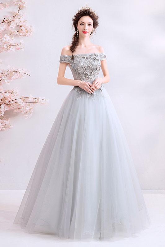 robe de soirée gris longue col bardot en dentelle appliquée florlae