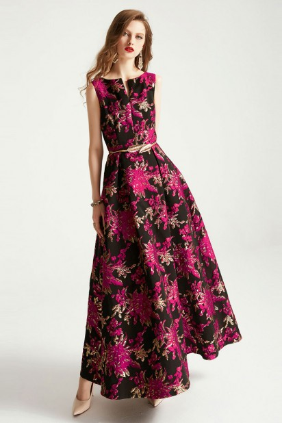 Robe soirée noire à broderie fleurie fuchsia avec ceinture délicate