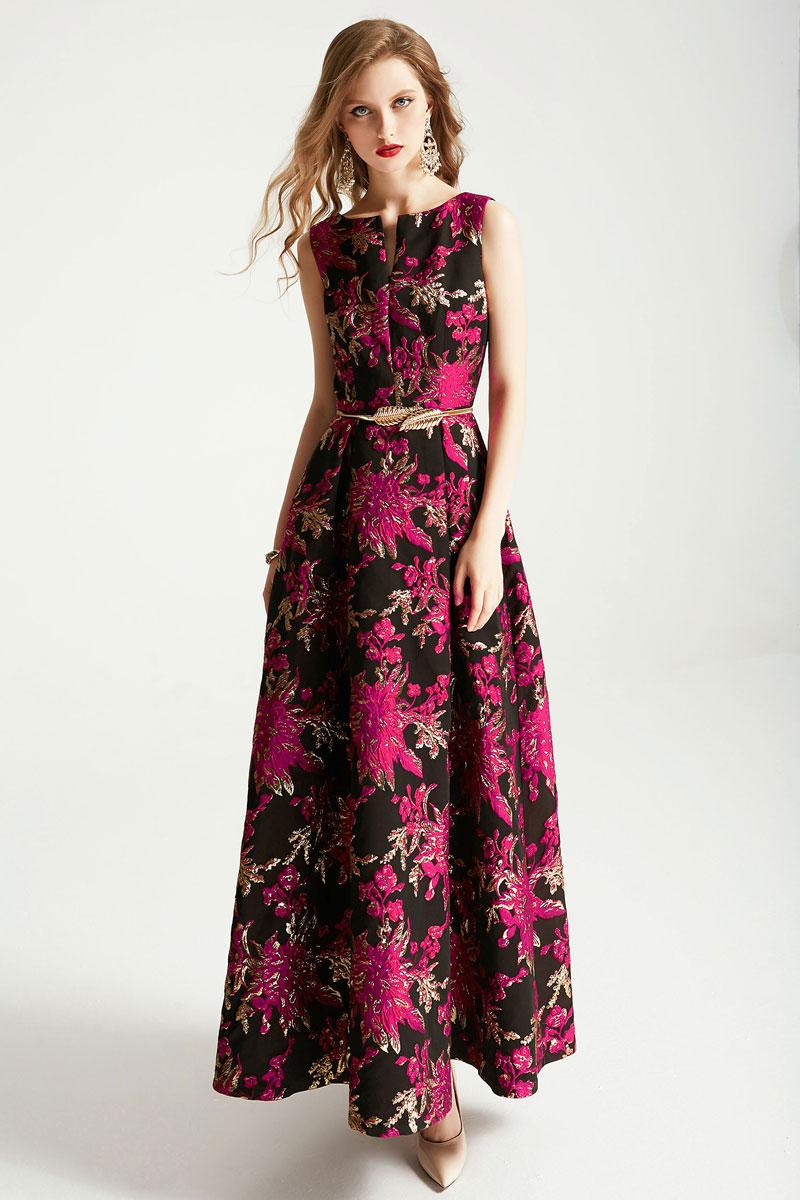 robe de soirée encolure tunisienne brodé fleurs fuchsia avec ceinture délicat
