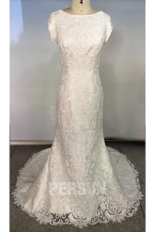 robe de mariée sirène vintage en dentelle florale mancheron