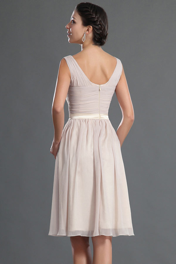 Robe cocktail mariage courte plissé en mousseline