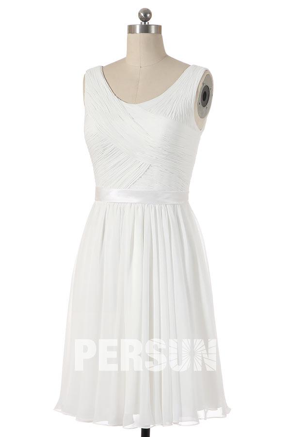 robe de cocktail courte blanche drapé
