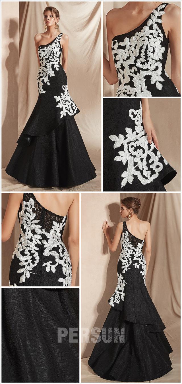 robe de soirée noire asymétrique trompette appliqué blanc cassé