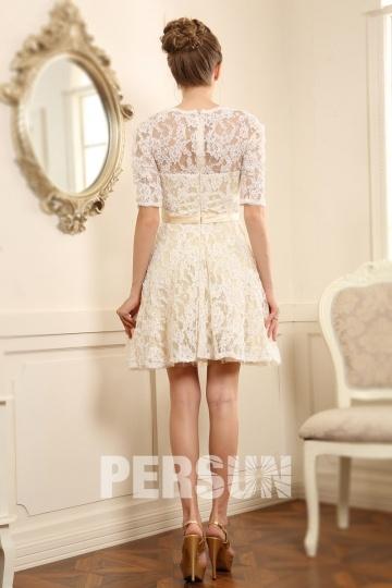 e39484b944e Robe courte habillée pour mariage avec manches dentelle - Persun.fr
