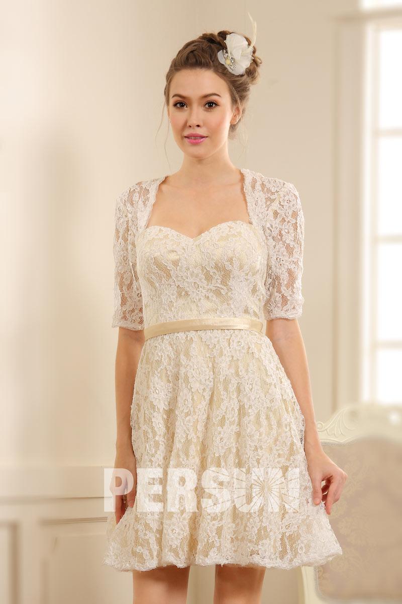 Robe courte habillée pour mariage avec manches dentelle