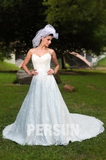 Robe de mariée princesse en dentelle paillettée