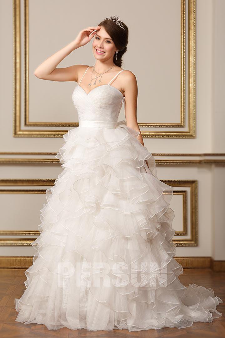 robe de mariée princesse jupe froufrou avec bretelles fines