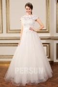 Elegant Bodenlang A-Linie Ivory Brautkleider aus Spitze