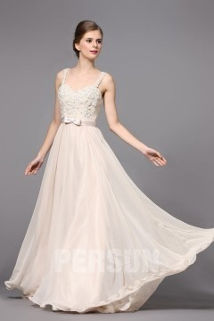 Robe de mariée fluide à dos échancré & haut fleuri