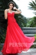 Persun Elegant Red Ruching Flower Formal Evening Dress