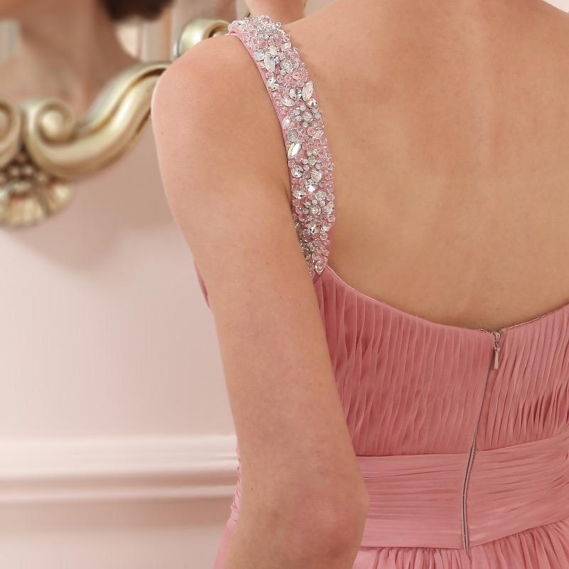 robe rose fiancaille bretelle ornées de strass