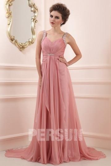 Robe de cérémonie longue vieux rose avec bretelles brillantes
