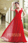 Persun Modern Long Empire Formal Evening Dress with Straps