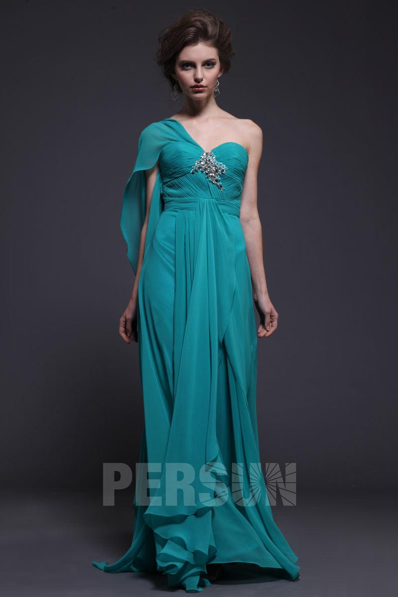robe de soirée longue turquoise foncée asymétrique bustier drapé embelli de bijoux