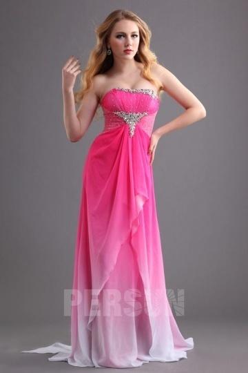Robe de bal bustier longue rose bonbon effet dégradé
