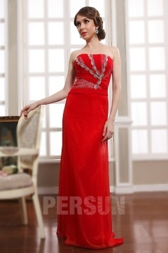 Robe rouge de cocktail longue bustier brillant