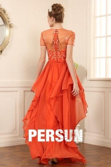039969de75f1e Robe soirée orange jupe irrégulière avec manche courte dentelle ...