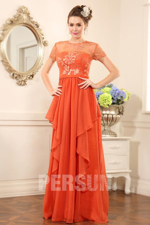 b6779d13dec Robe soirée orange jupe irrégulière avec manche courte dentelle ...