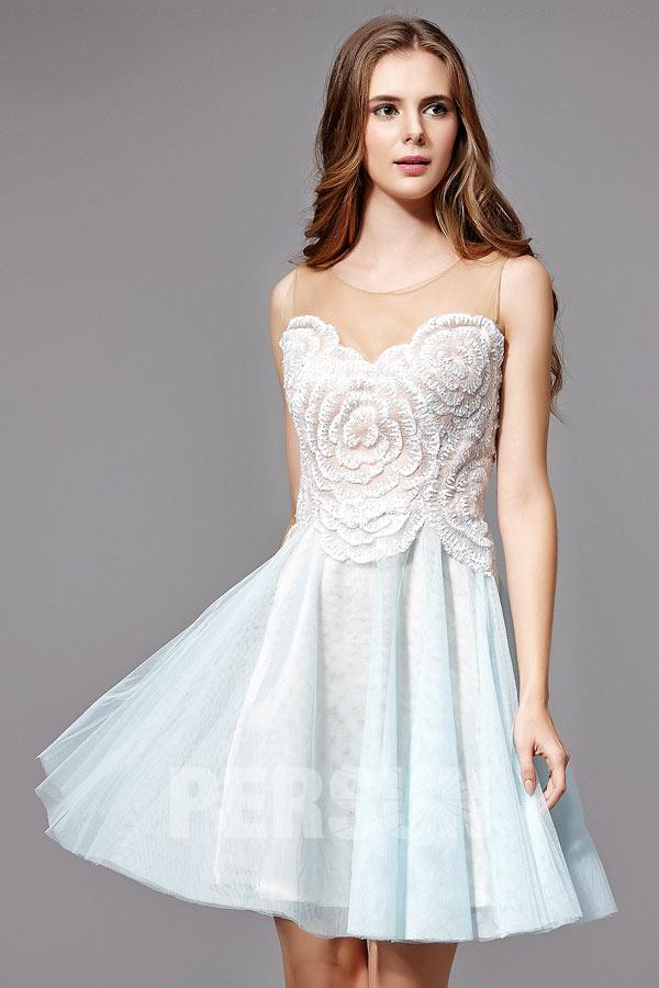 Petite robe bal vintage bicolore bustier à motif floral & brodé