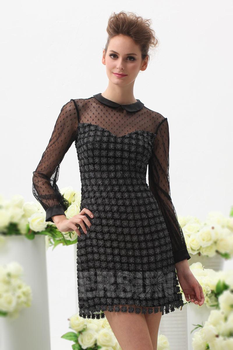 73f9642c490 Petite robe noire brillante col claudine avec manches longues à pois ...