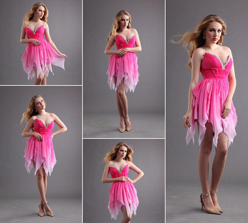 robe de soirée couleur fuchsia dégradé à l'ourlet pointu pour femme ronde