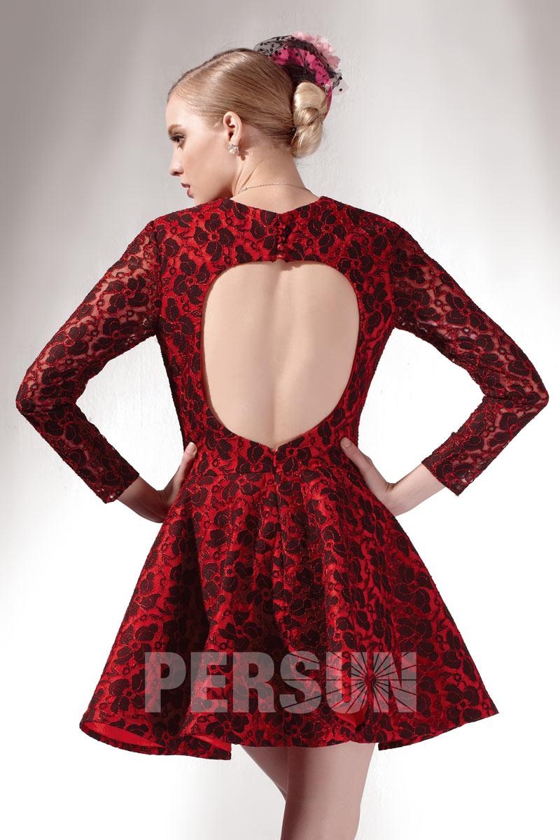 Robe courte habillée vintage en dentelle dos découpé avec manches longues