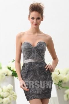 Robe de cocktail grise sexy à jupe florale bustier coeur ruché
