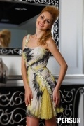 Chic robe imprimée courte avec bretelle biais ornée de rhinestone