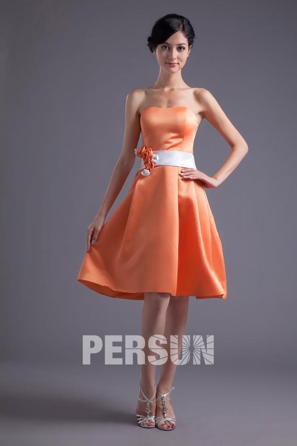 b198731bc9c Robe demoiselle d honneur bustier orange ligne A en satin longue aux genoux
