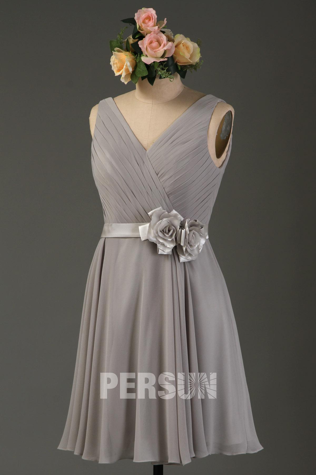 robe demoiselle d'honneur courte mousseline grise