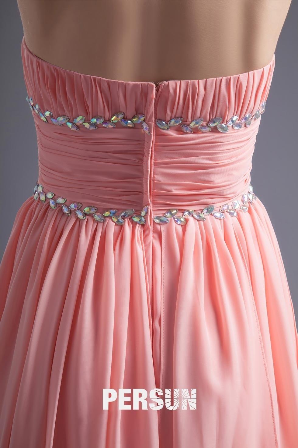 tenue pour mariage jupe irrégulière & bustier ornée de bijoux en mousseline