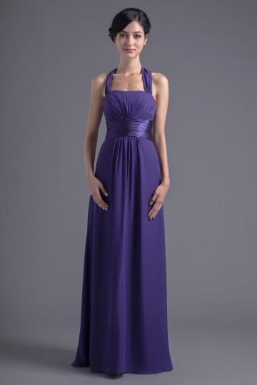 Robe demoiselle d'honneur violette simple Empire avec bretelles au cou Ligne A