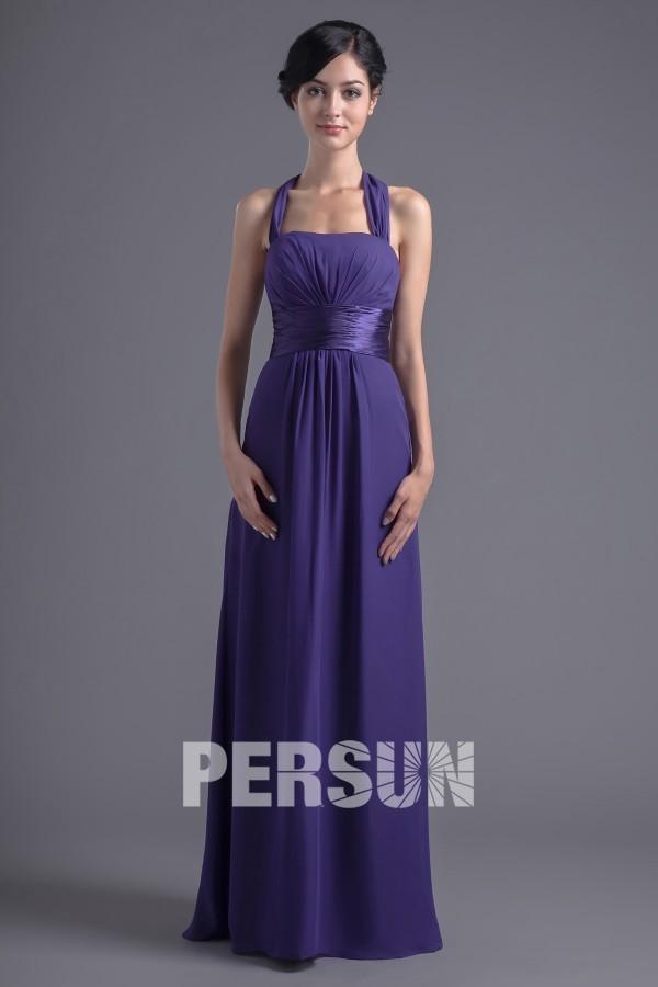 robe de soirée longue violette empire col halter