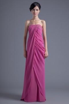 Rose robe demoiselle d'honneur au ras du sol ornée pailletes