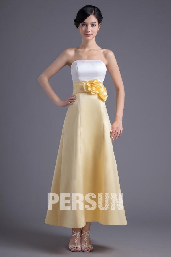 robe de soirée bustier jaune et blanche bustier embelli de fleurs