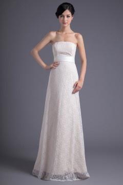 Blanche robe demoiselle d'honneur en dentelle bustier simple longue