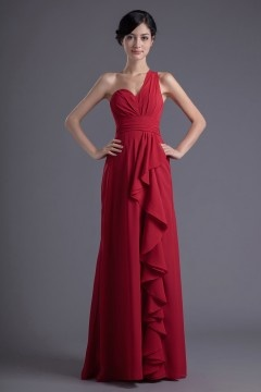 Rouge robe de soirée longue à une épaule avec dos nu Empire