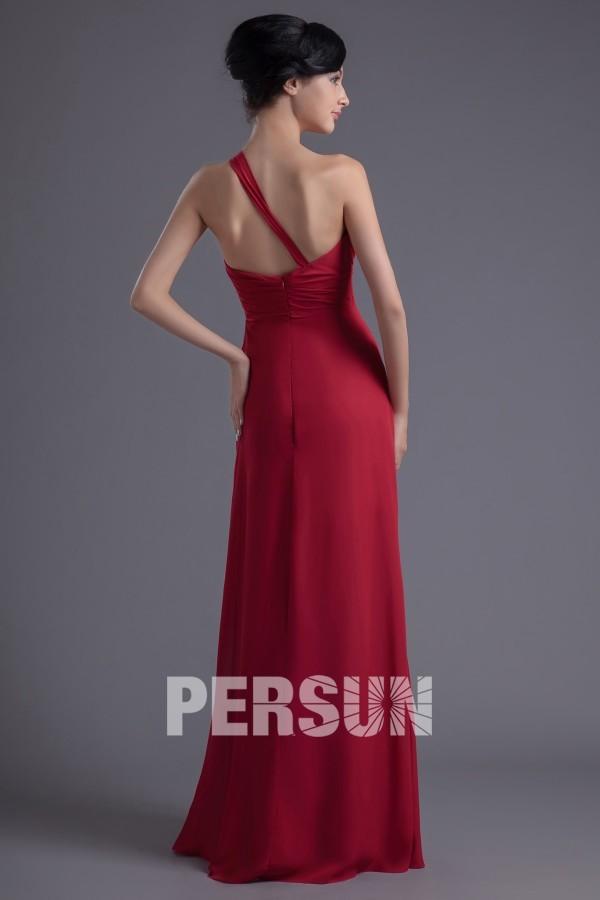 Robe soirée rouge asymétrique taille empire longue sol