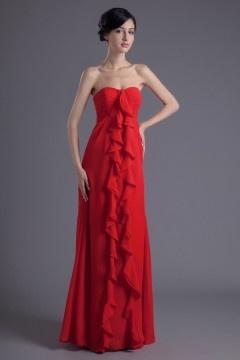 Robe bustier rouge longue ornée de plissés cascade en mousseline