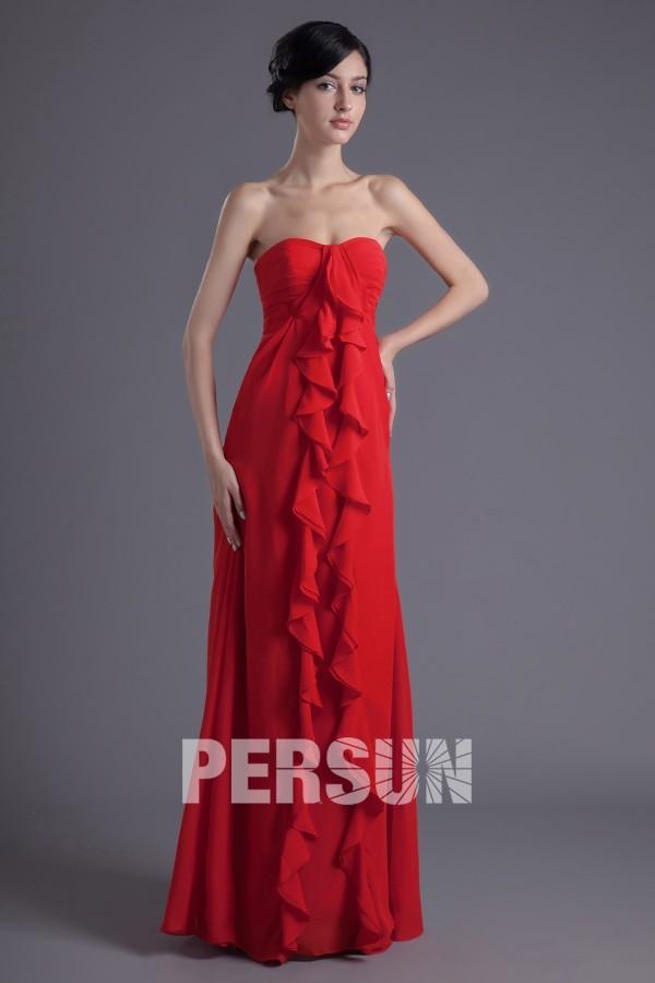 Robe demoiselle d'honneur bustier rouge ornée de plissé Empire au ras du sol en mousseline
