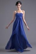 Simple A Line Empire Ruching Chiffon Floor length Formal Bridesmaid Dress